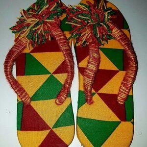 African print kente slippers